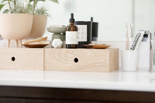 bathroom idea with wooden countertop storage