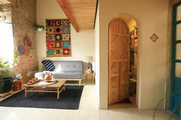 home in Guadalajara with couch and wooden table