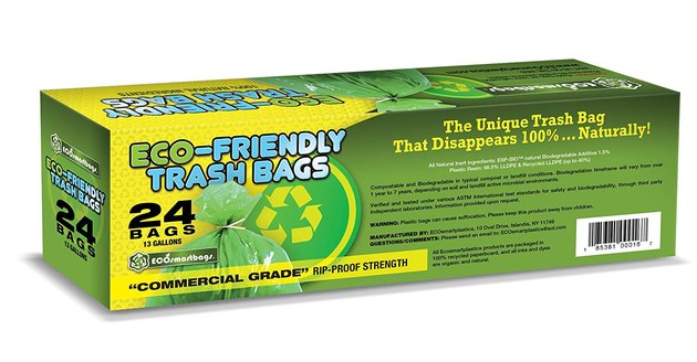 green pack of eco-friendly trash bags