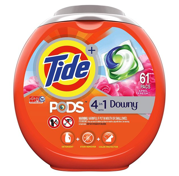 red orange container of Tide laundry pods
