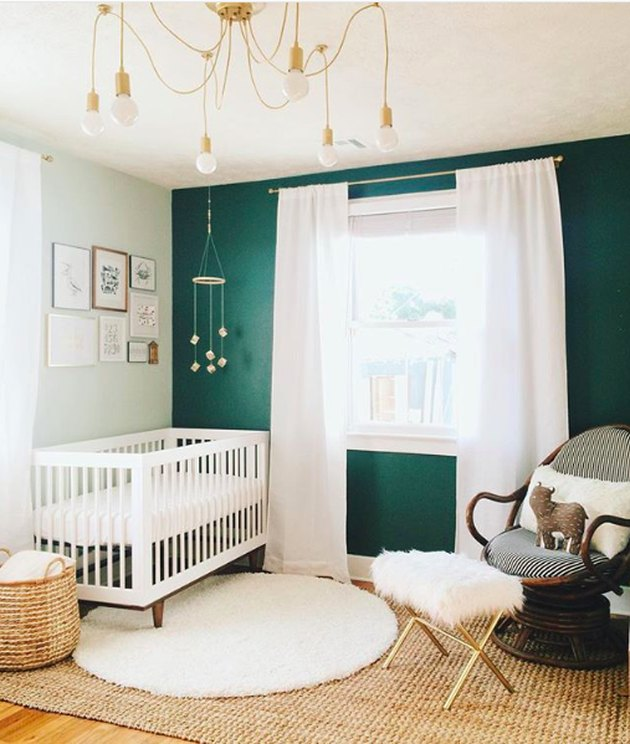 dark green accent wall