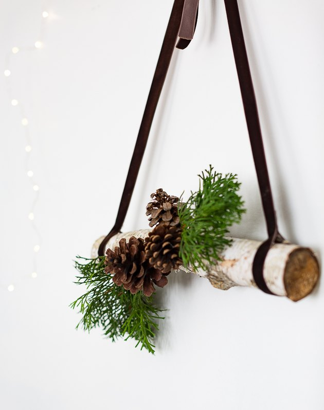 Simple branch and pine cone hanging