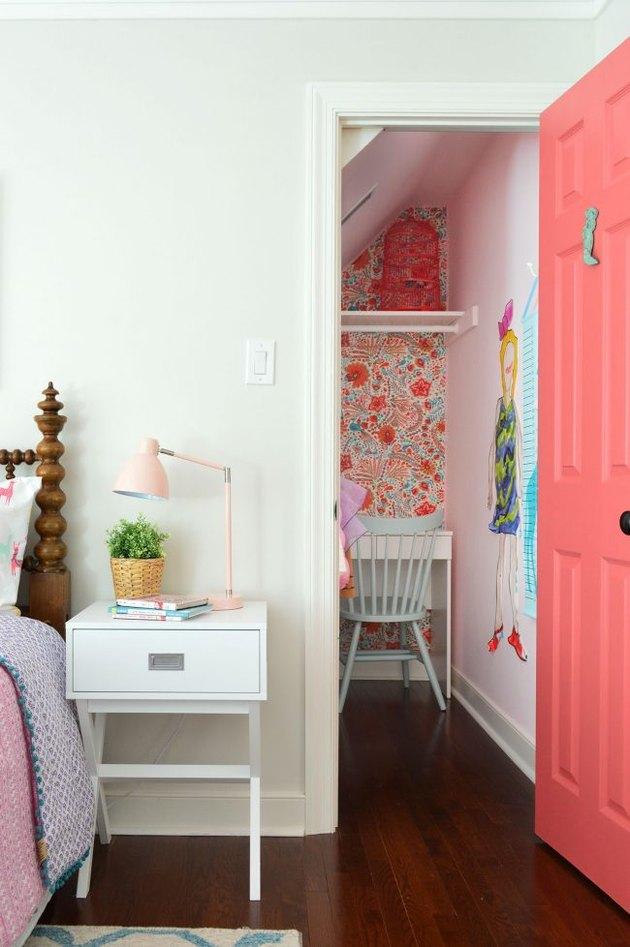 IKEA kids' bedroom idea with dressing table tucked into closet