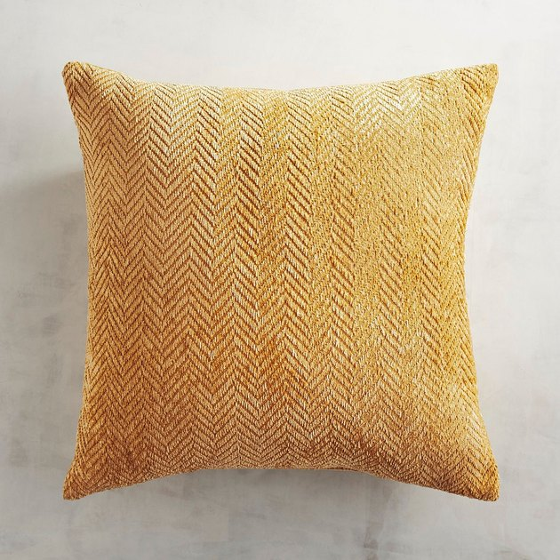 Pale mustard chenille throw pillow with fine herringbone design