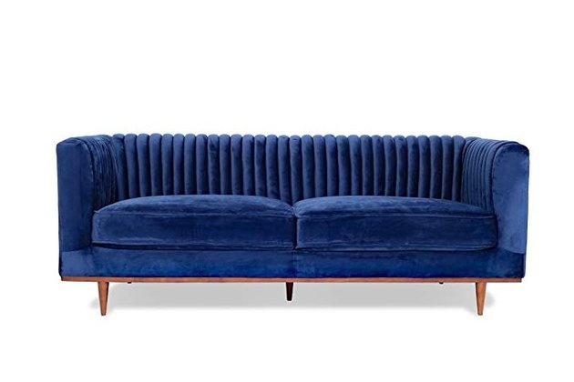 Foxley Blue Velvet Sofa