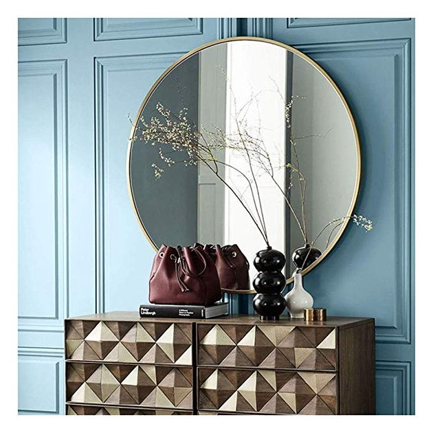 Beauty4U Large Circle Metal Frame Mirror