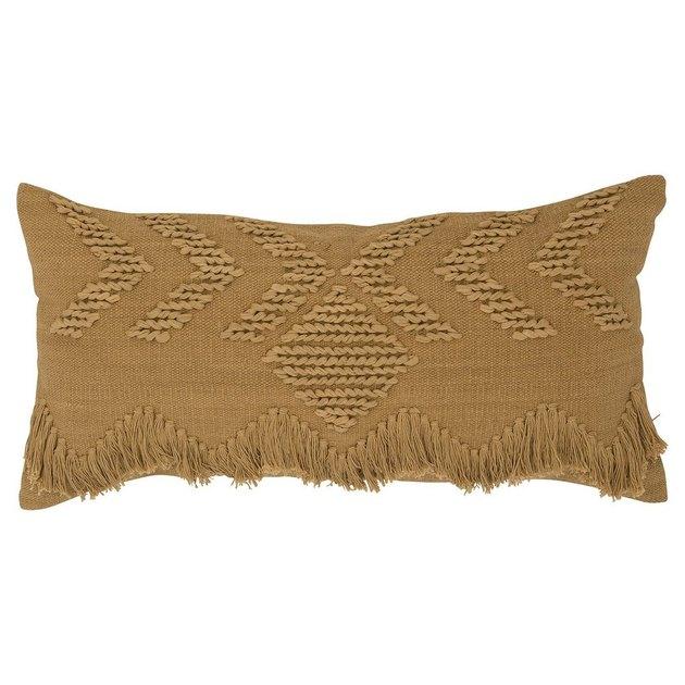 Deep mustard lumbar pillow with fringe accents