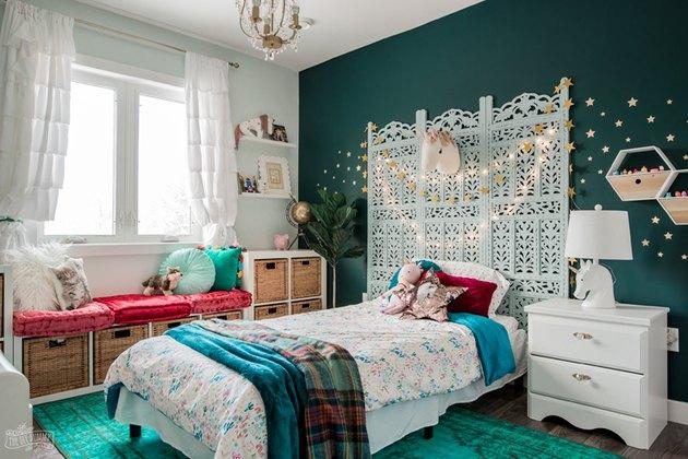 IKEA kids' room ideas with whimsical decor, jewel tones, and IKEA storage