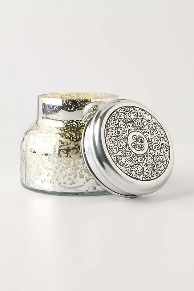 Silver jar candle