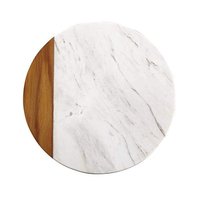Anolon White Marble/Teak Wood Serving Board