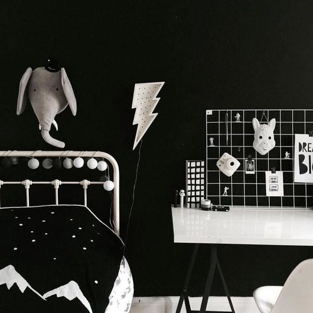 kids bedroom idea with graphic accessories and dramatic black walls