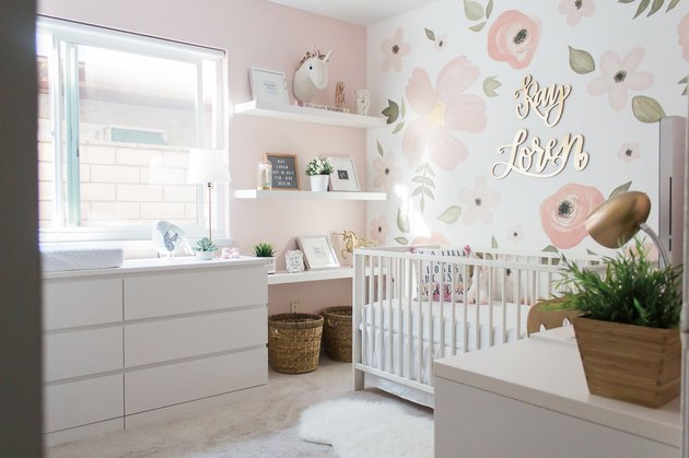 Nursery idea with IKEA crib and floral accent wall
