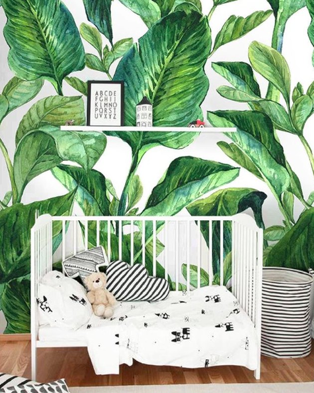 banana leaf wallpaper in a nursery