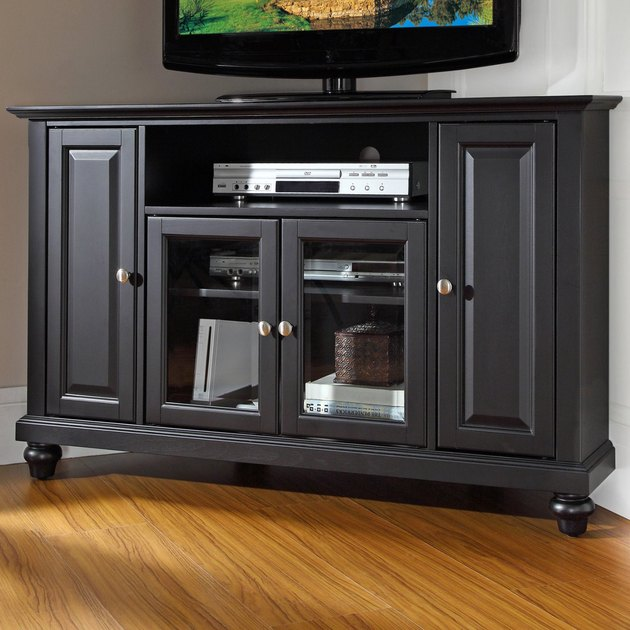 black corner TV stand with four doors