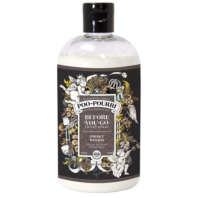 clear bottle with black label of Poo-Pourri before-you-go bathroom spray refill
