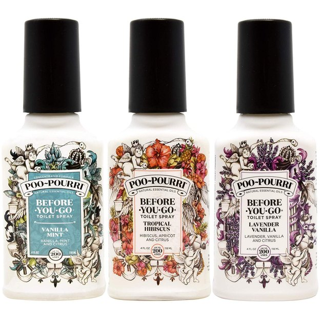 Poo-Pourri Lavender Vanilla, Tropical Hibiscus, and Vanilla Mint bathroom spray set