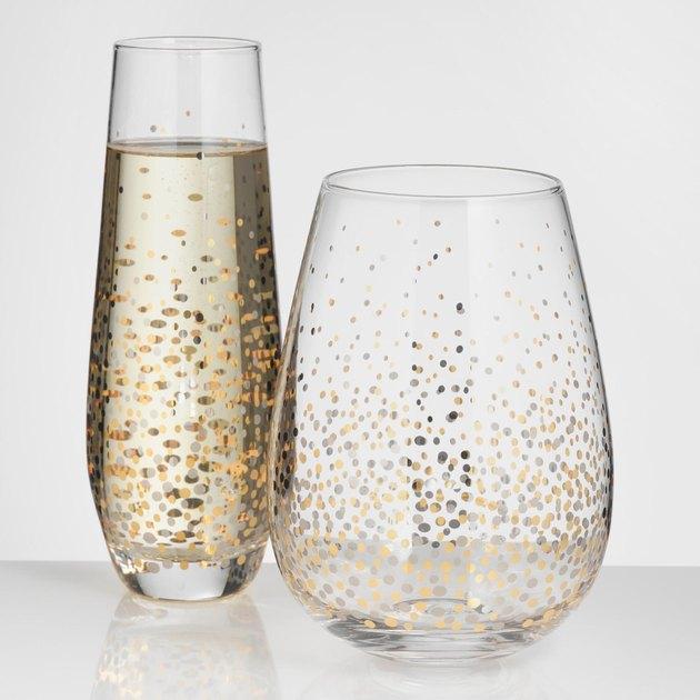 glassware with gold confetti