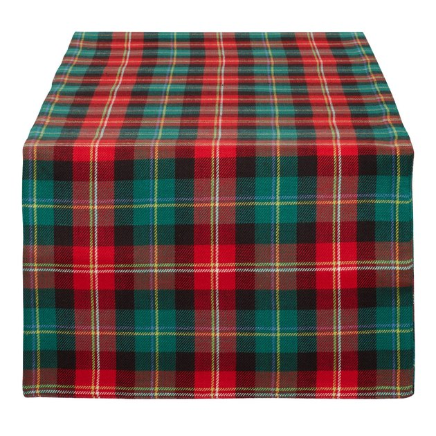 red and green plaid table runner