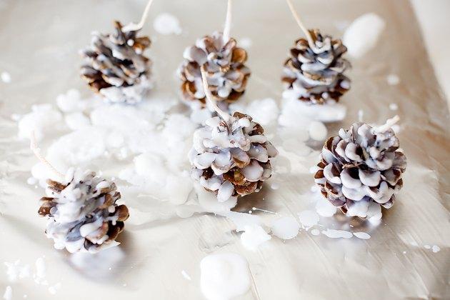 Waxed pine cones