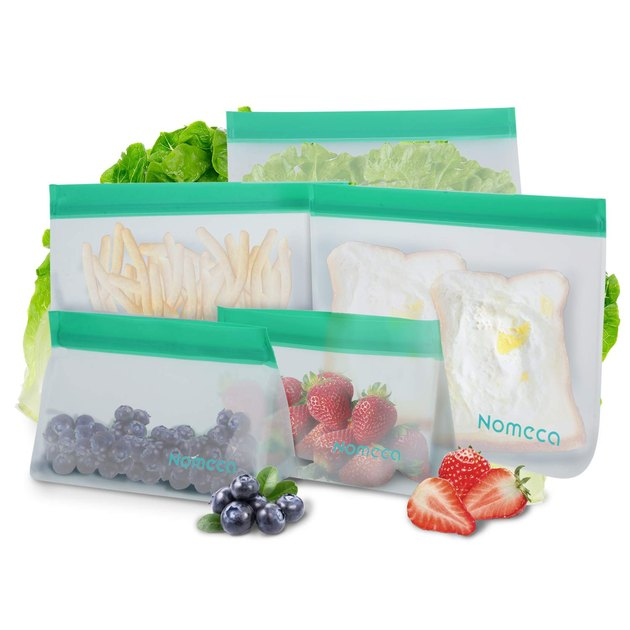 clear resuable storage bags with green tops