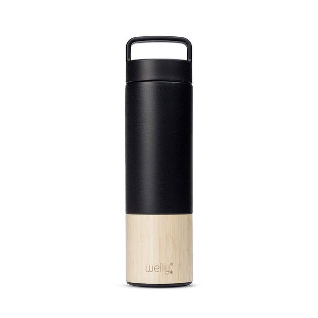 black steel and bamboo resuable water bottle