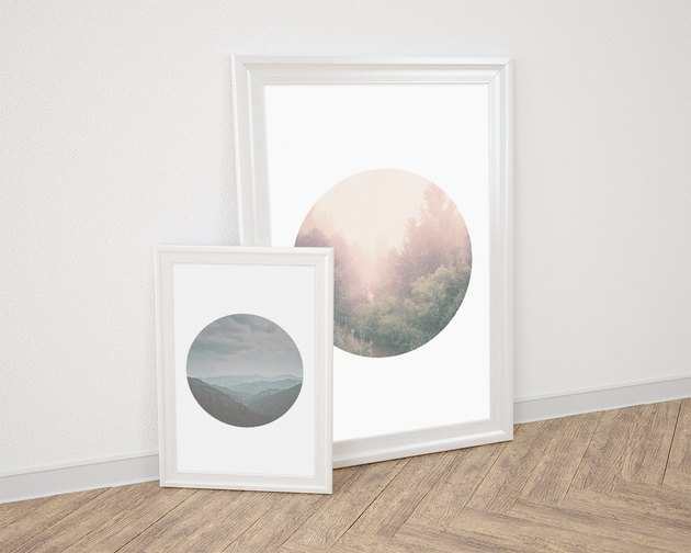 framed porthole style printables with scenes from nature