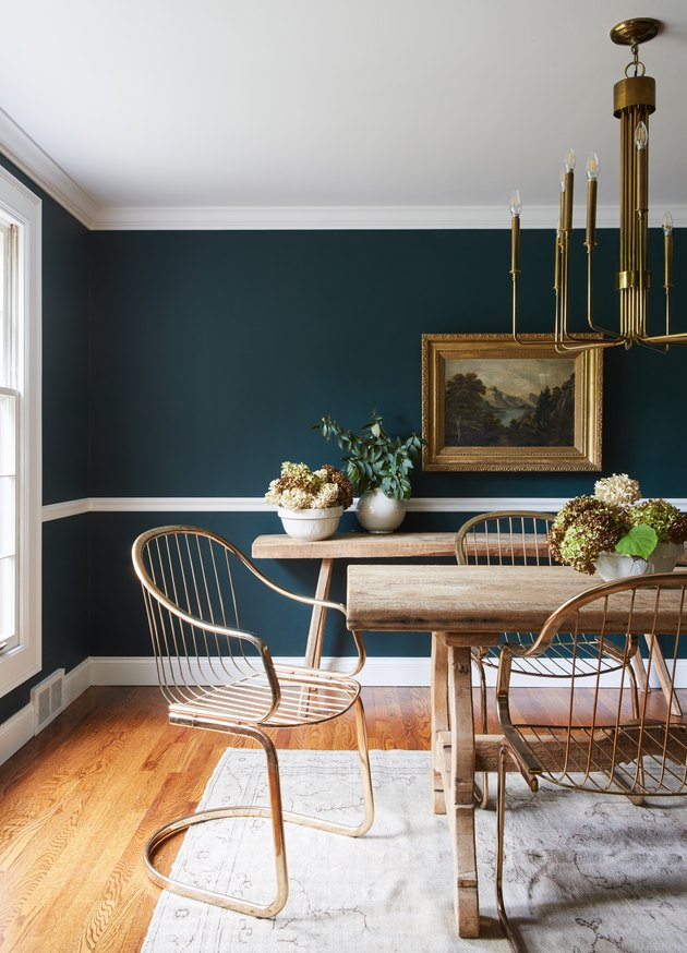 dining room with jade aqua-green walls
