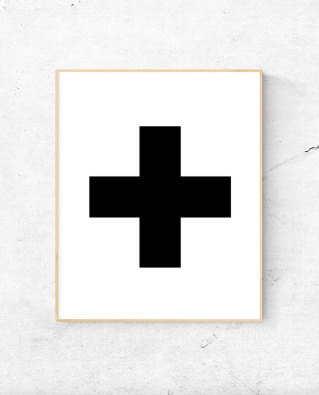 framed free printable with Swiss cross in black