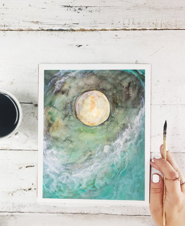 watercolor free printable with moon and waves