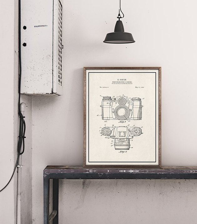 vintage camera patent print in a frame