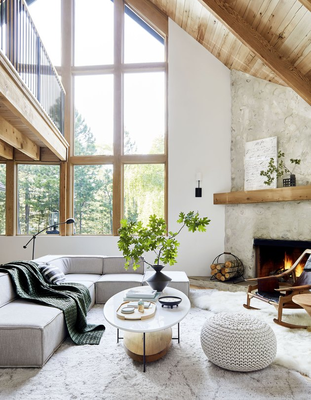 mountain house living room with netural textiles