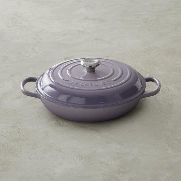 purple Le Creuset cast-iron braiser