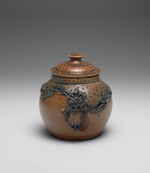photograph of a stoneware jar by susan stuart frackelton
