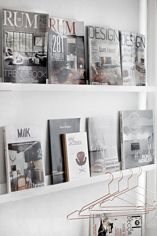magazines displayed on picture ledges