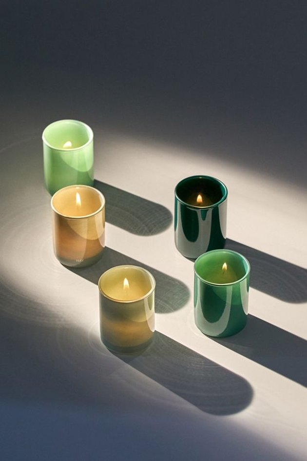 green votive holders