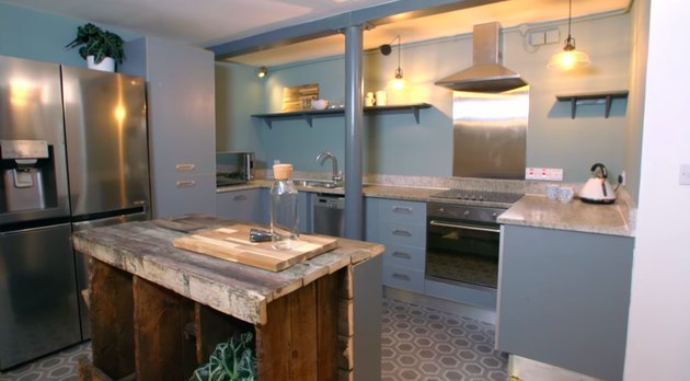 kitchen are with blue walls