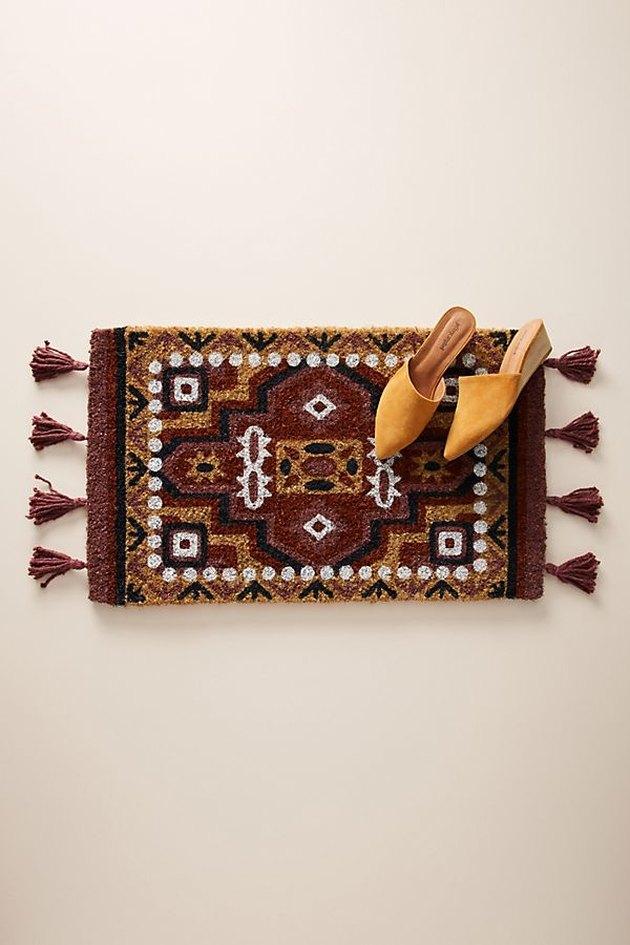 maroon multicolored tasseled moroccan doormat