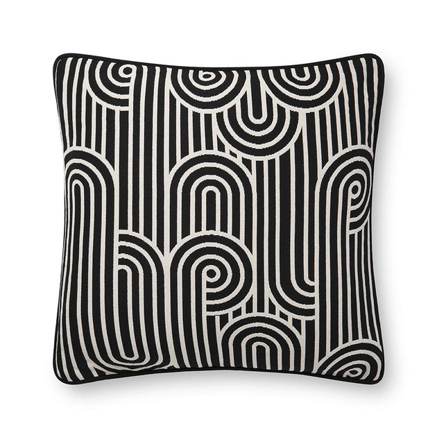 black-and-white pillow with swirl pattern
