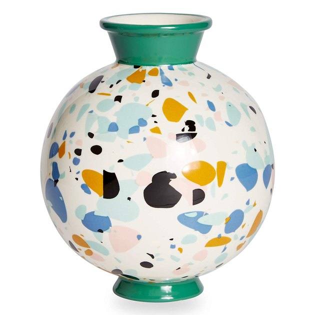 round vase with bright colors