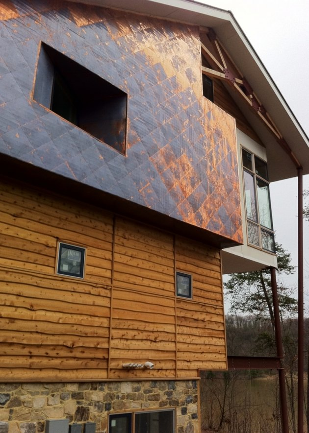Copper panel siding