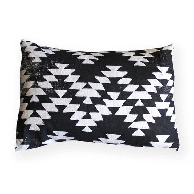 Black-and-white geometric lumbar pillow