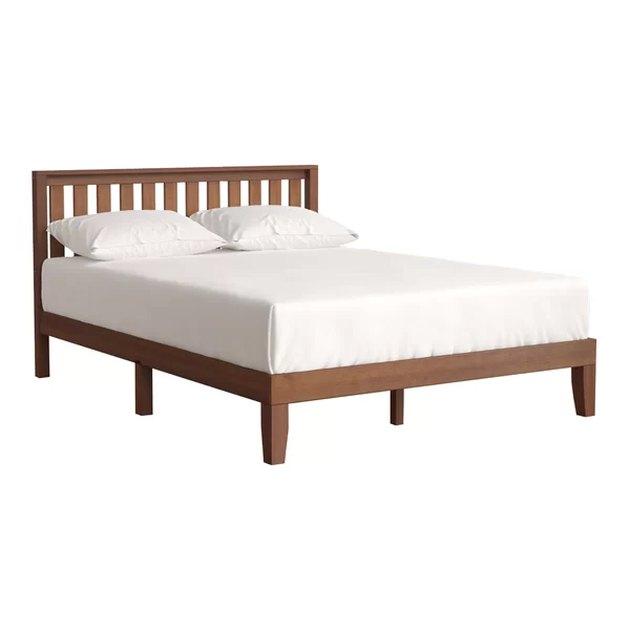 Wooden platform bed frame with slatted headboard