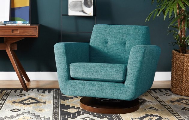 Hughes teal swivel chair