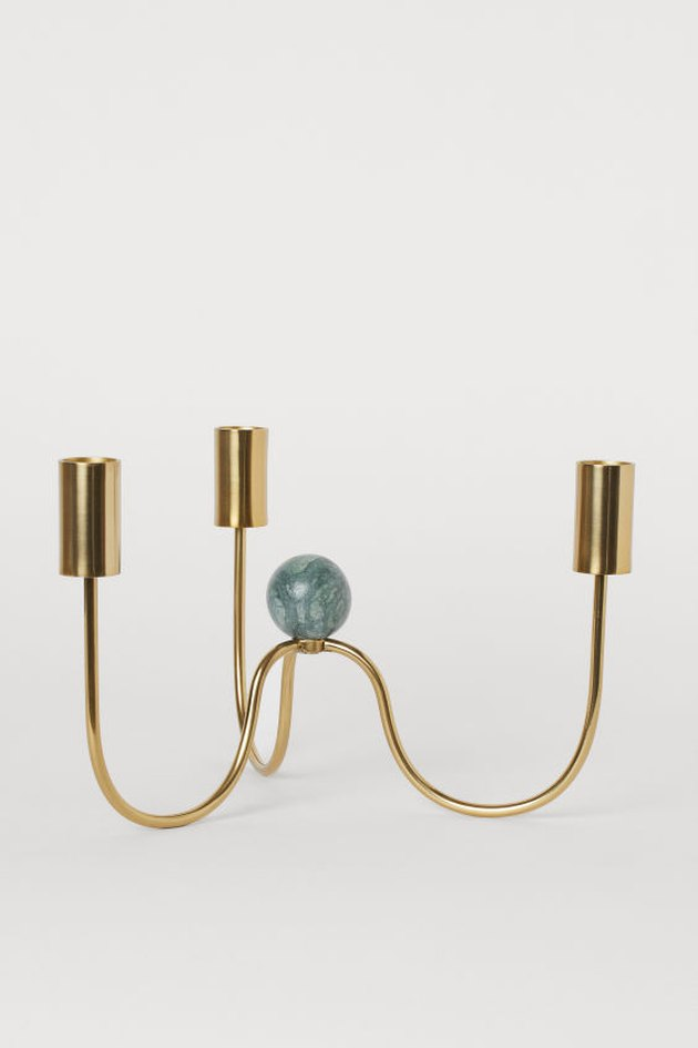 gold candleholder with marble detail
