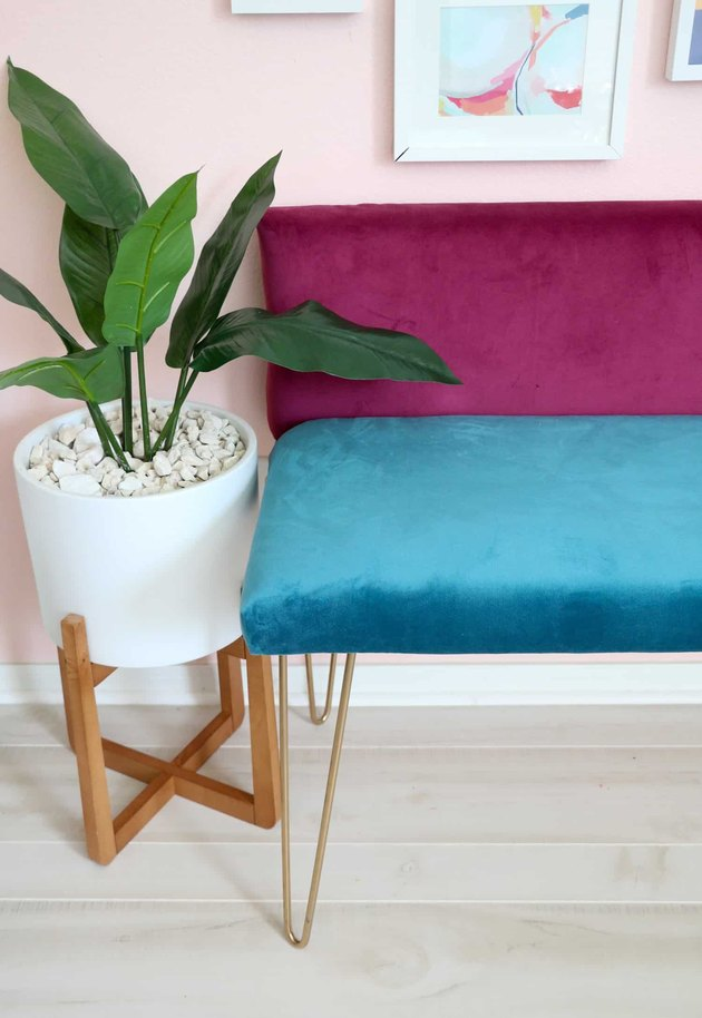 DIY color-blocked velvet bench with hairpin legs