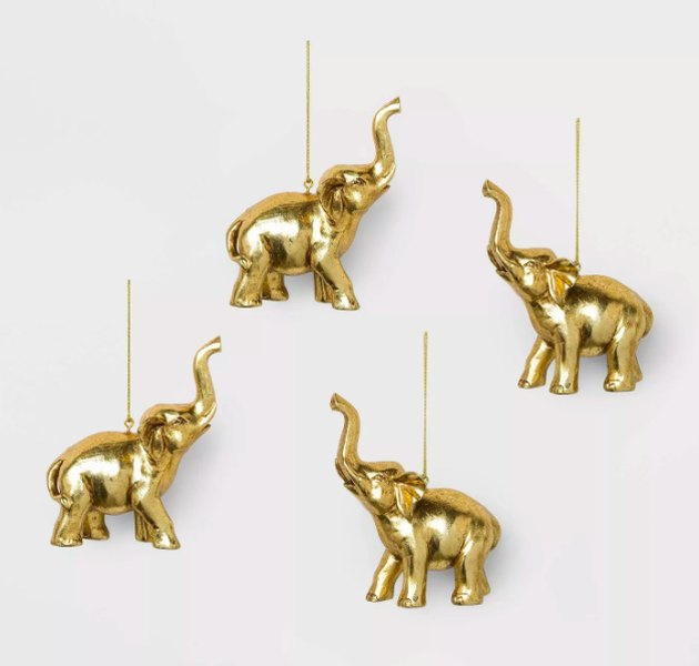 Target Gold Elephant Ornaments (set of 4), $12
