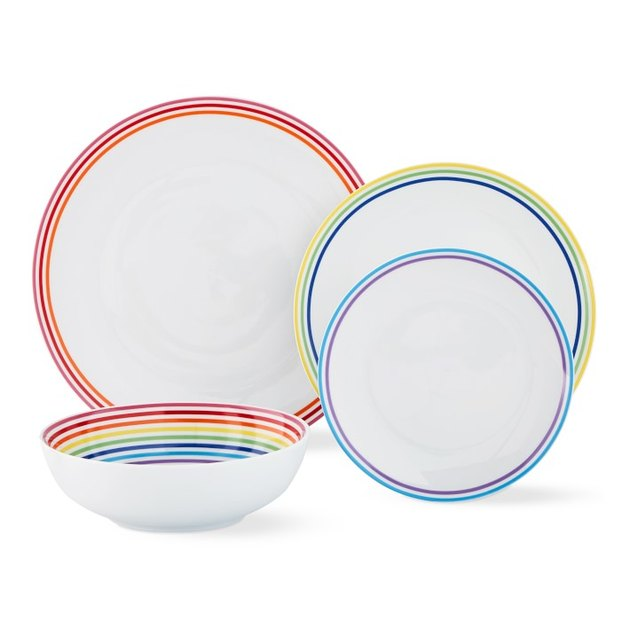 white and rainbow dinnerware set