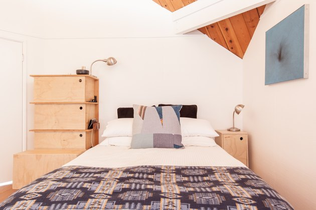 Bedroom in geometric cabin