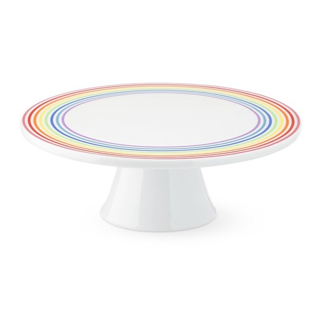 white and rainbow cake stand