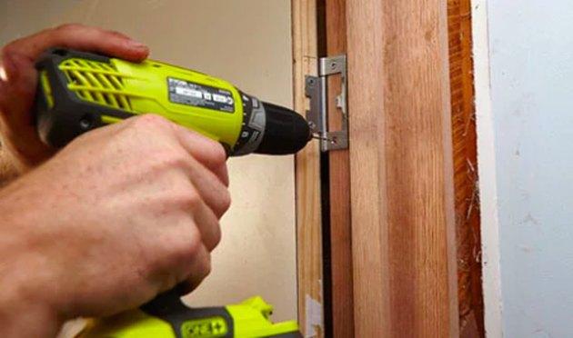 Installing a door.